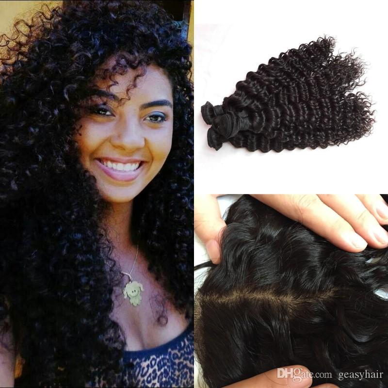 Peruvian Deep Wave Deep Curly Virgin Hair Weave With Silk Lace