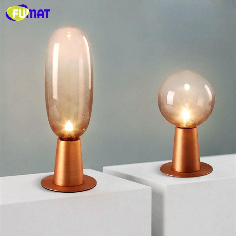 Nordic Simple Small Table Lamp G9 Led Bedside Desk Modern Lighting Smoke Gray Glass Shade Metal Base Light By Lightintheroom
