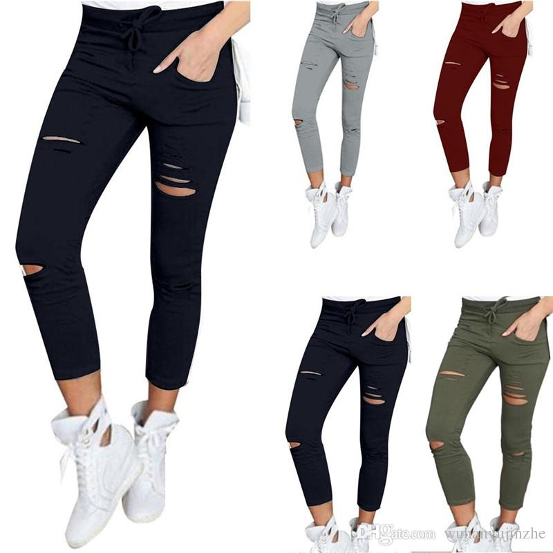 be35c8b45709b 2019 2017 New Female Trousers Women Hole Leggings Ripped Pants Slim Stretch  Drawstring Trousers Pants Army Green Tights Pants CL019 From Wuhanyujinzhe,  ...