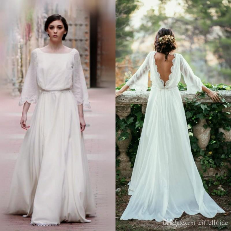 Discount 2017 Bohemian Wedding Dresses Cheap Square Neck A Line ...
