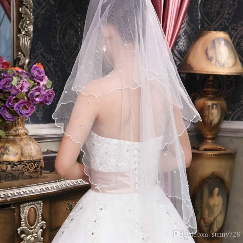 One Layer Lace Tulle 1.5 Meters Short Bridal Veils Cheap Hot Sale White Ivory Pearls Short Wedding Veil High Quality