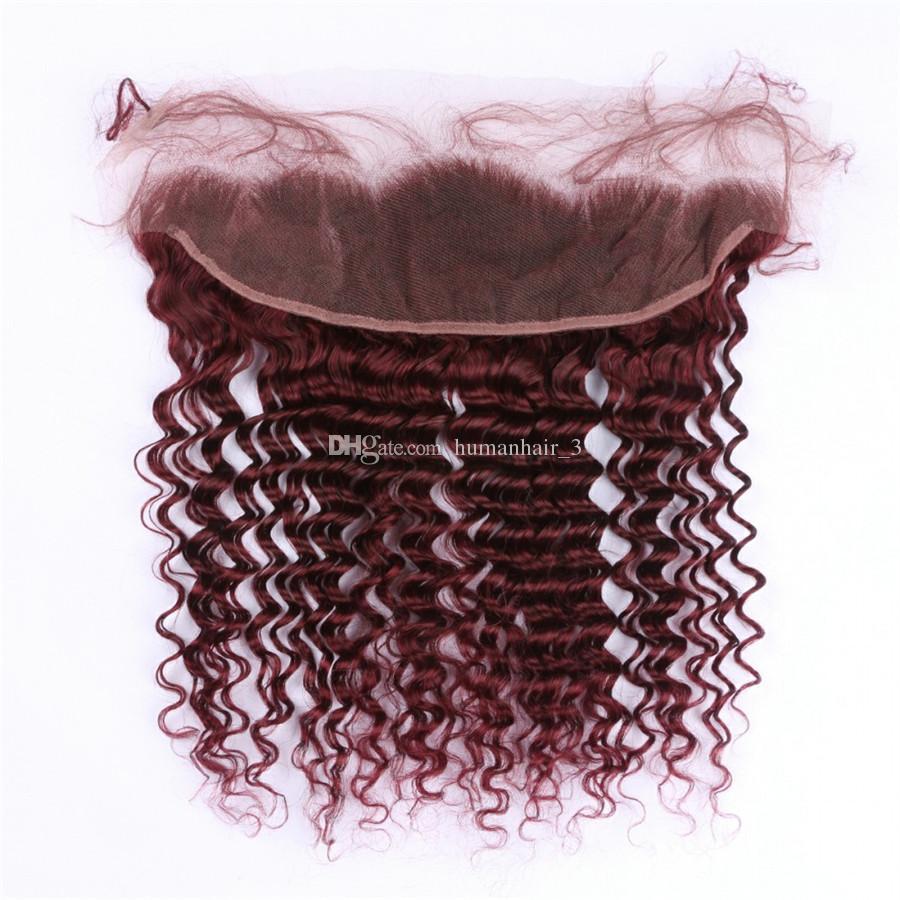 # 99J Cierre frontal de encaje rojo vino con paquetes 9A Malasio rizado de onda profunda de Malasia Tramas con 13x4 Oreja a oreja Frontal completo