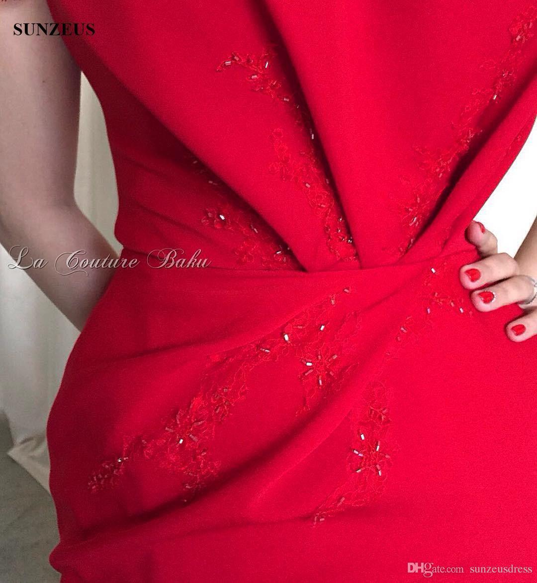 Eleganti abiti da sera rossi da donna con maniche diritte a berretto con scollo a barchetta, abiti da cerimonia la festa, con perline di appliques