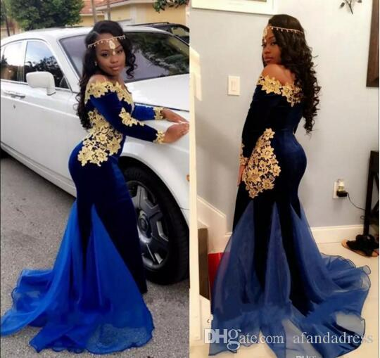 Black Girls New Elegant Long Sleeves Prom Dresses 2017 2k17 Royal