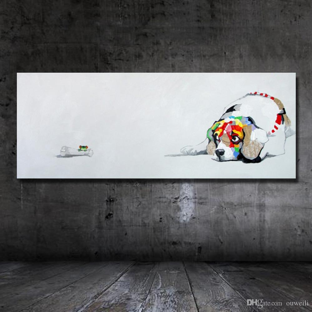Hand drawing one panel cartoon animal dog oil painting on canvas fabric free design wall oil abstract painting