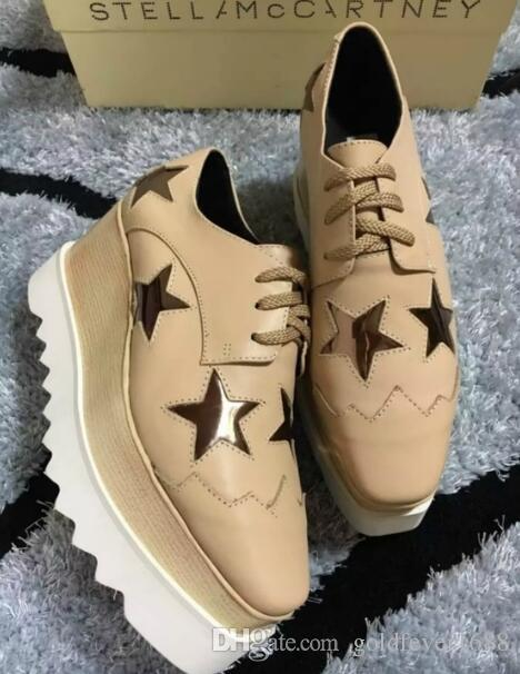 5a8e9b841ef6 New Wholesale Brogue Style Stella Mccartney Women Shoes Gun Color Patent  Genuine Leather Black Sole Platform Mens Leather Boots Mens Shoes Online  From ...