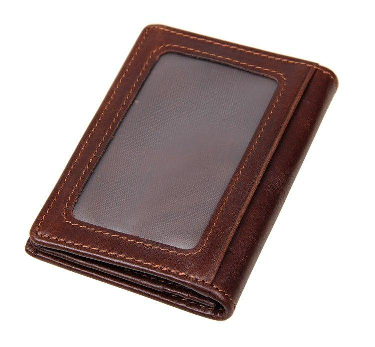 Men's Women's 100% Cow Leather Bifold Credit/ ID Case Card Holder Wallet Purse