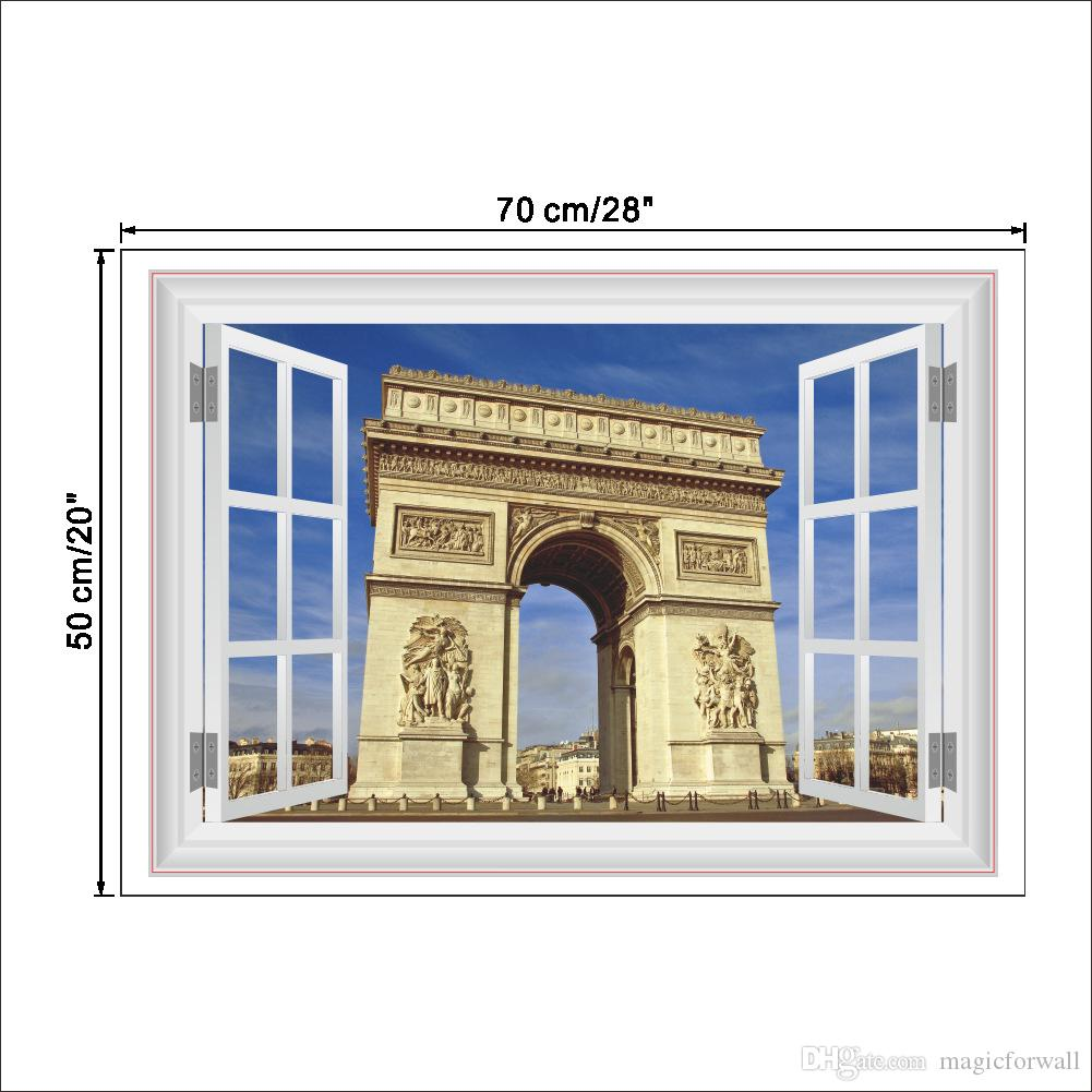3D Stereo Ventana Vista Pares Triumphal Arch Pegatinas de pared Home Living Room Dormitorio Oficina Mural Poster Poster Simulation Window Graphic