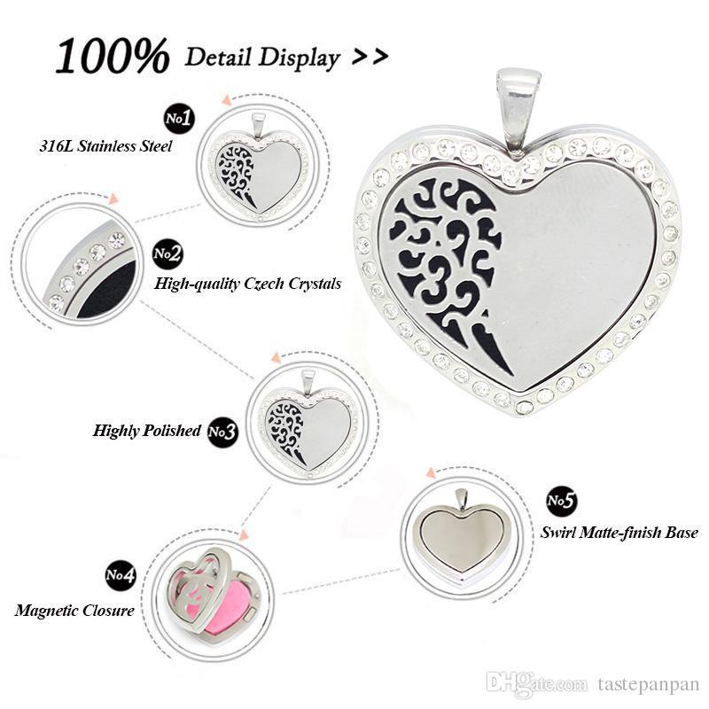 Panpan 쥬얼리! 에센셜 오일 디퓨저 심장 향수 로트 펜던트 목걸이 체인이있는 스테인레스 스틸 플로팅 로켓
