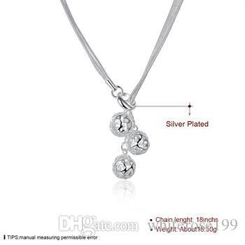 Partihandel - Retail Lägsta pris Julklapp 925 Silver Mode Smycken Gratis frakt Halsband N85