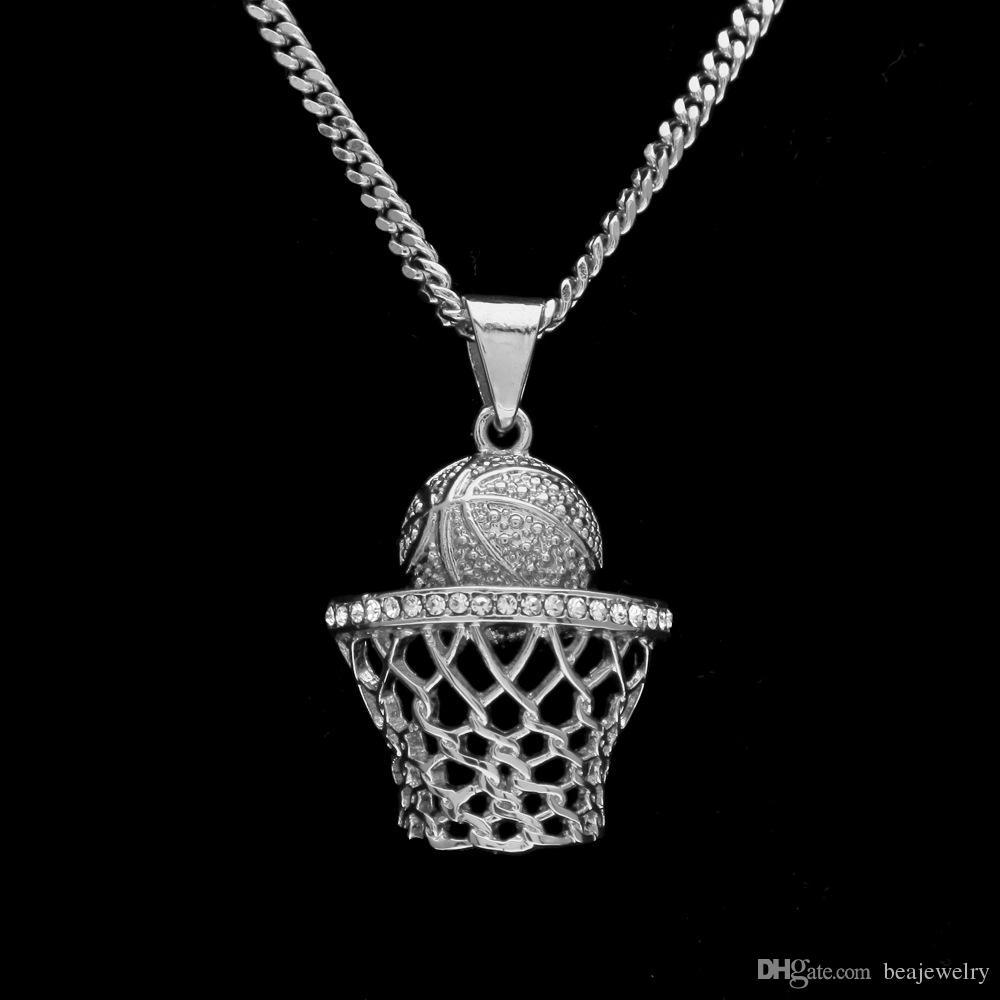 Mode Vintage Argent Panier Cerceau Shoot Ball Basket Basket Stands Charme Pendentif Collier Strass Hommes Femmes Cadeau