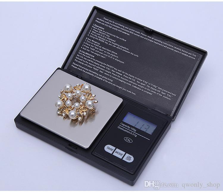 100g 0.01g Mini LCD Electronic Pocket Scale Stainless Steel Portable Jewelry Gold Diamond Weighting Balance Scales