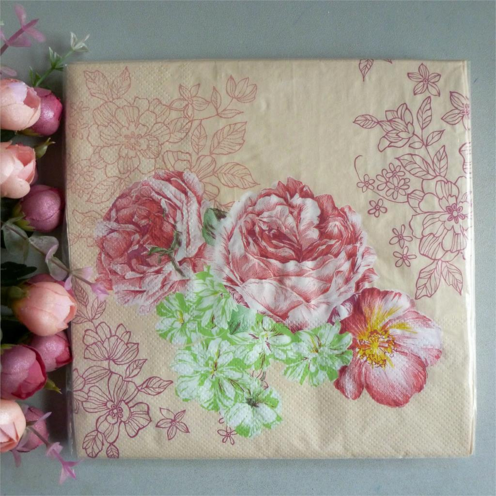 Wholesale 2 X Decoupage Paper Napkins 33x33 Cm 2 Ply Pink Flower