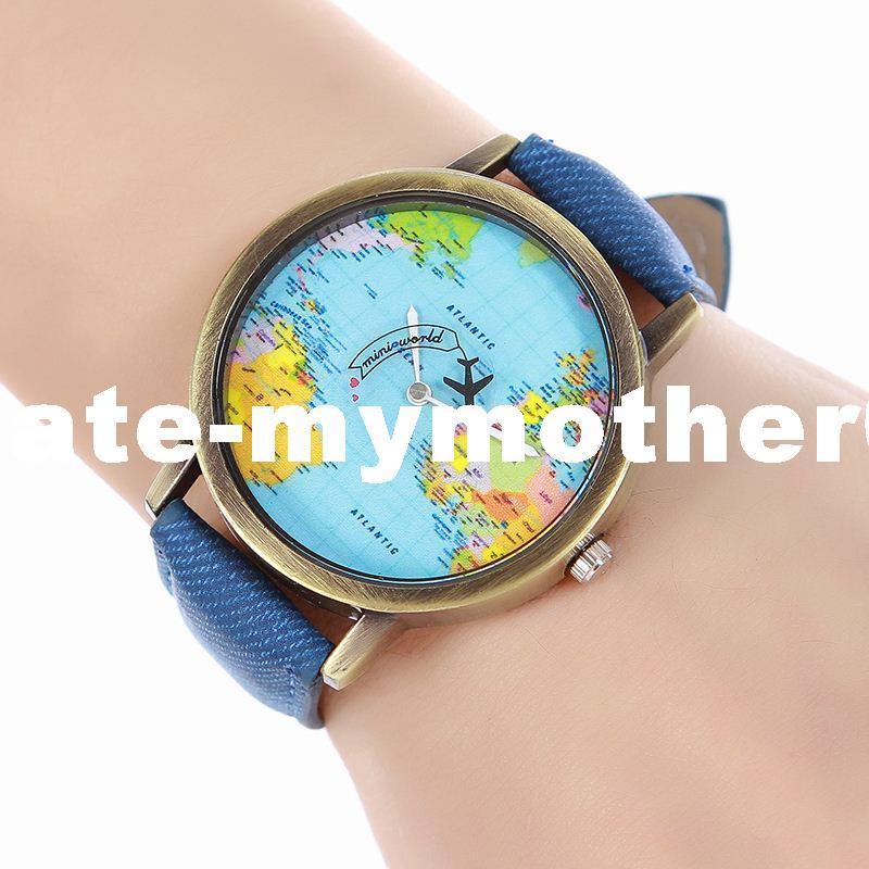 127a78d730d Compre New Fashion Women Watch Plane Mapa Do Mundo Padrão Tecido Denim  Relógio De Pulso Das Senhoras Popula Casual Relógio De Quartzo Relogio  Feminino De ...