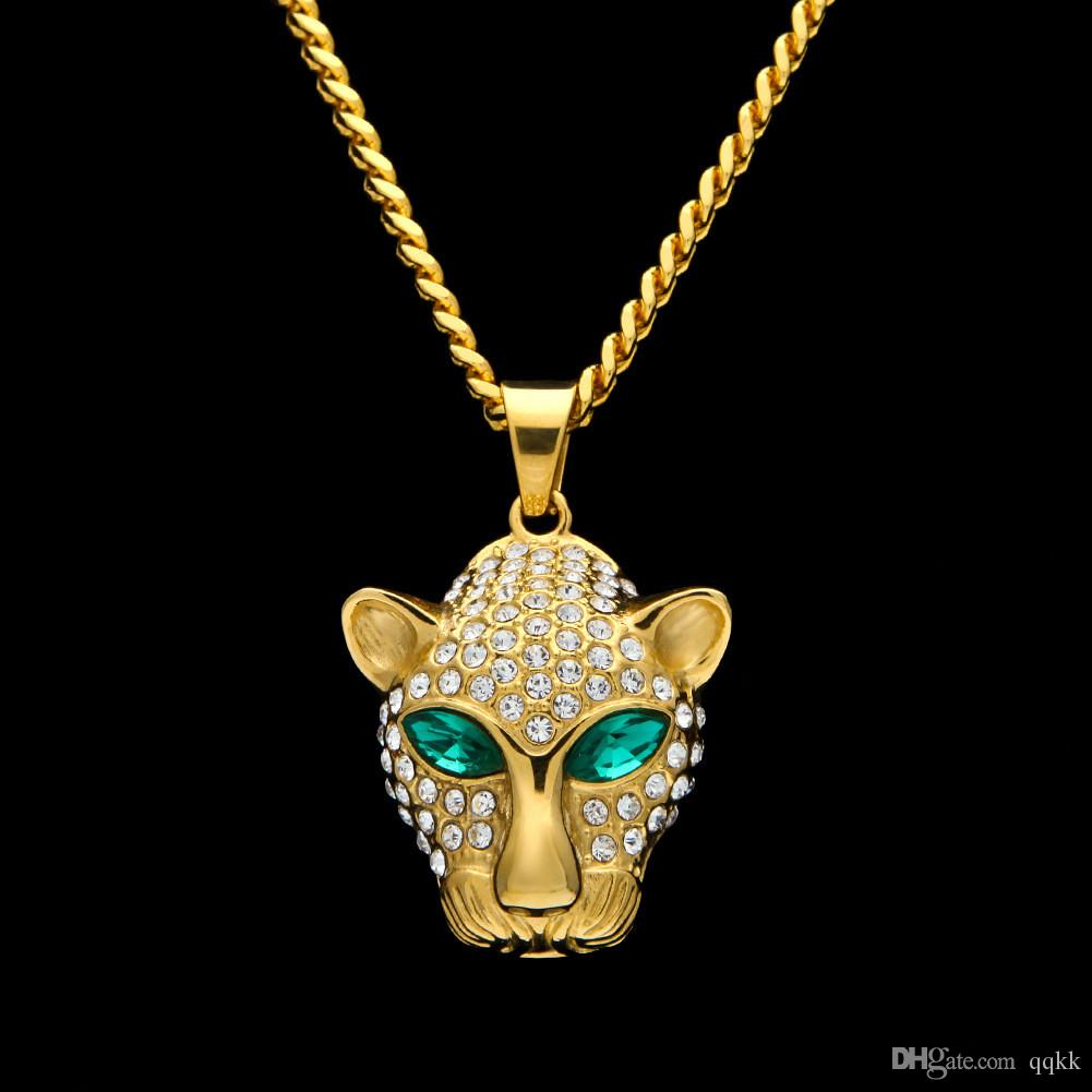 Wholesale fashion long necklace for men gold plated hip hop cuban wholesale fashion long necklace for men gold plated hip hop cuban link chain stainless steel emerald cz leopard head pendant necklaces men jewelry gold aloadofball Gallery