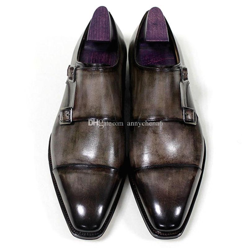 Scarpe eleganti uomo Fibbia con fibbia Cinturino Oxford Scarpe personalizzate fatte a mano Punta quadrata Vera pelle di vitello Colore patina Grigio HD-N192