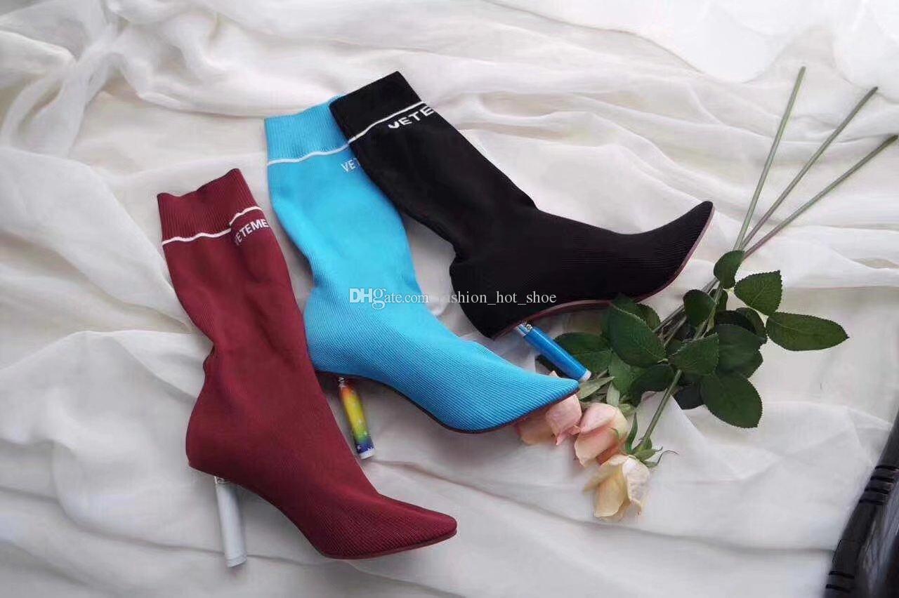Tacones más ligeros Botas de calcetines de punto Vino negro azul rojo Tela de moda Estiramiento Elástico Botas de otoño Mujer