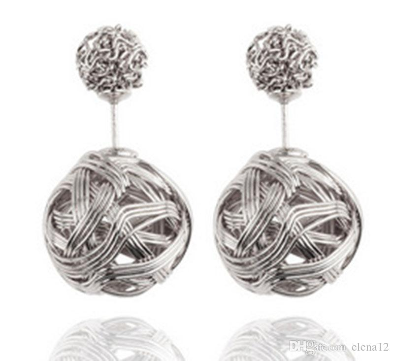 High quality Double sided Shambala Ball Stud Earrings Metal Braided Hollow Studs disco beads Earings fine Jewelry for women girls 170018