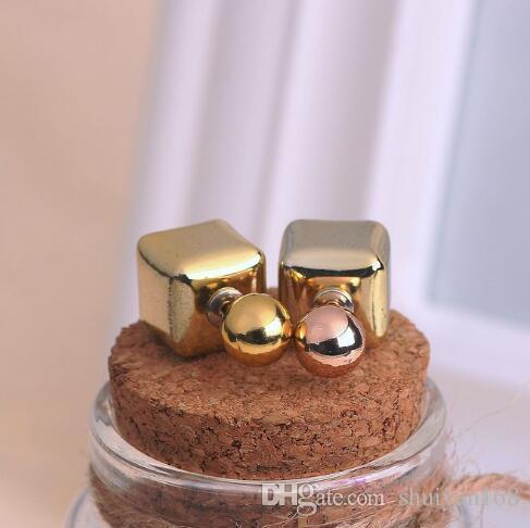 Boule de perle Boucles d'oreilles Carré Géométrie Boucle D'oreille Stud DHL Paire Double Face Couleur Bonbon Desiger Bijoux Femmes Cadeau De Noël