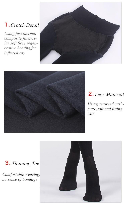 Collants thermiques pour femmes Algue Cachemire Rapide Thermo Composite Fibre V Entrejambe Plus épais Collants