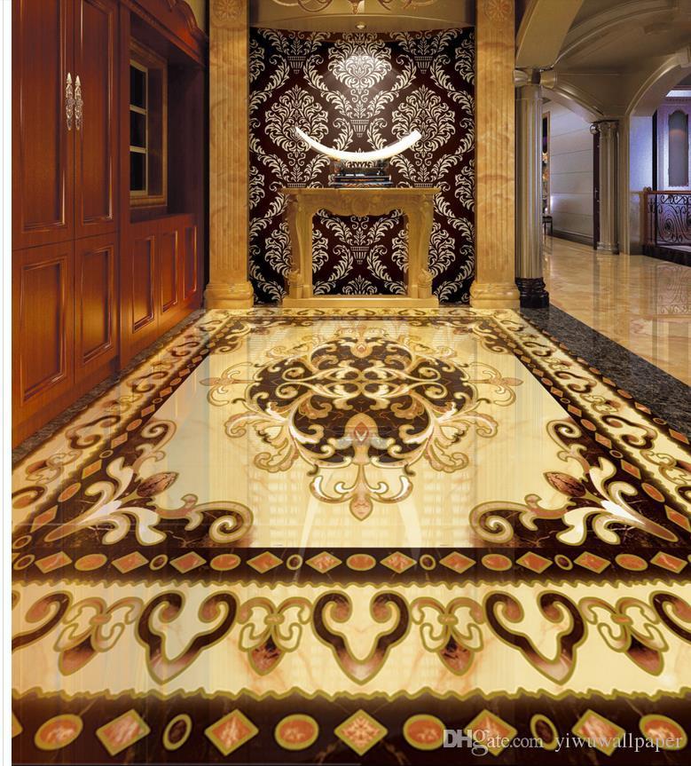 Foto cualquier tamaño de alto grado de parquet de piedra europea azulejos impermeable papel pintado para la pared del baño