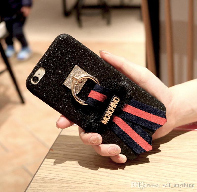 Для Iphone 7 Наборы Мобильных Телефонов Блестки Флэш-Порошок Галстук-бабочка Стальное Кольцо Пряжка Пальца Оболочки Телефона Для Iphone 7 6 6 s Plus