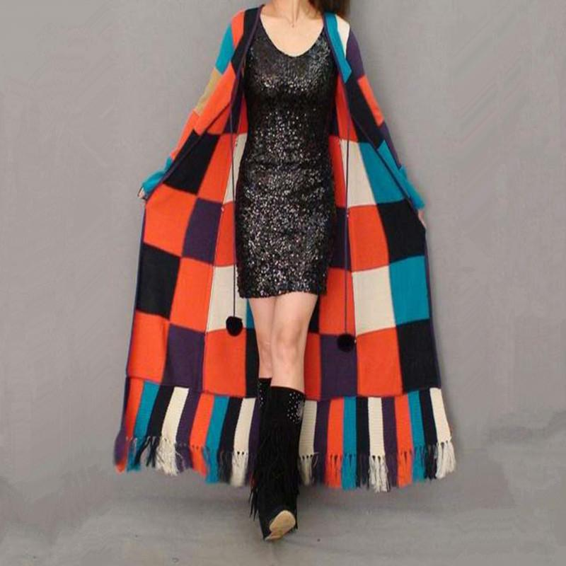 2019 Wholesale Fashion Long Floor Length Knitted Sweater Coat Cardigan For  Women Plaid Geometrical Outerwear With Tassel Trench From Burtom b32afbde2