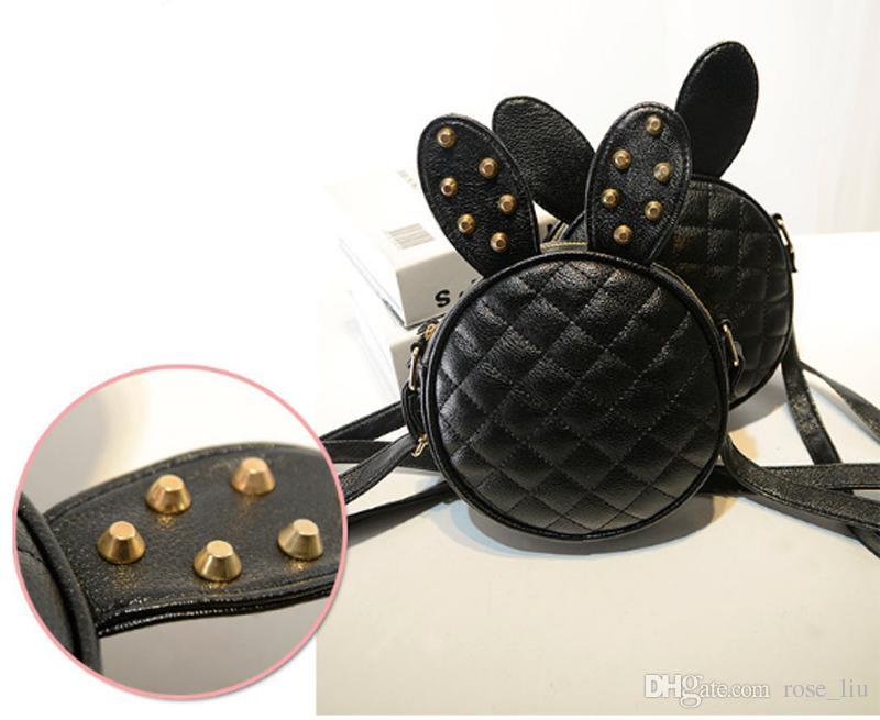 es Nuevo estilo niños niñas niños moda bolso bandolera remache orejas de conejo moda chica bolso XT