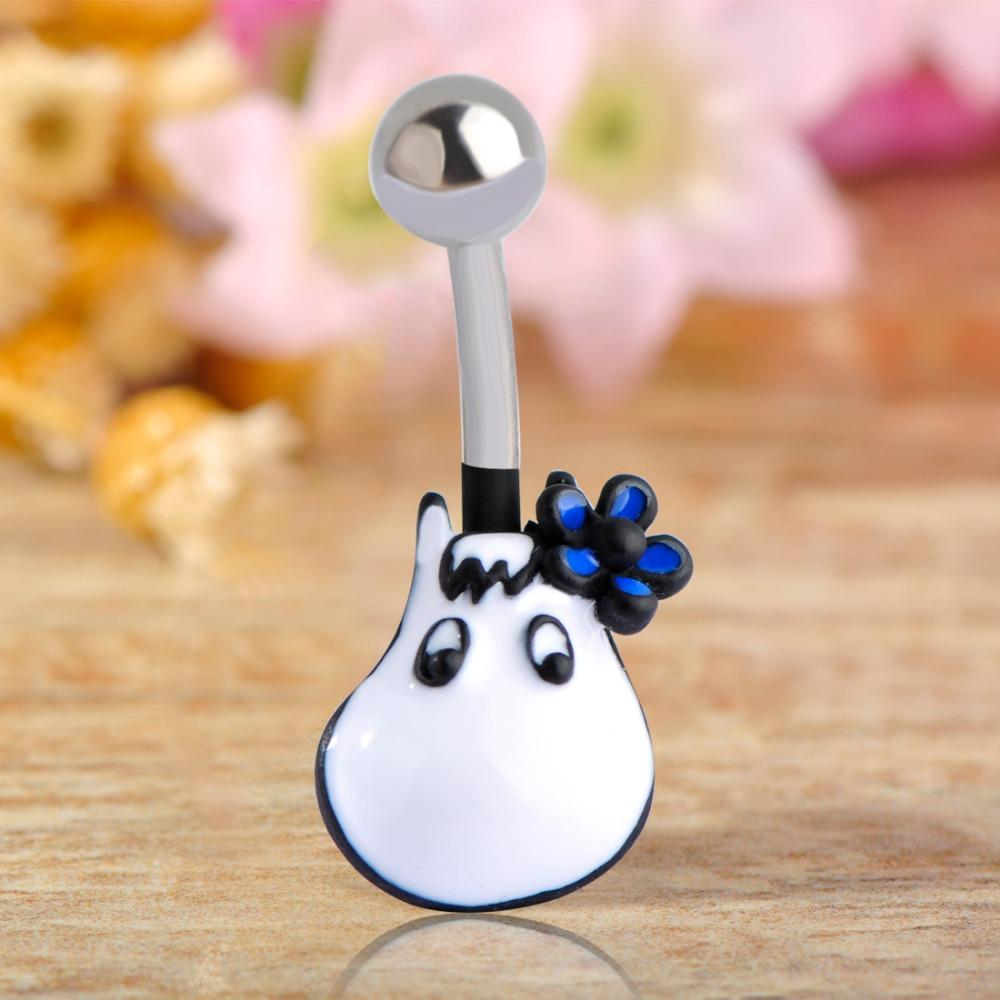 Blue Flowers Hippo Navel Belly Button Ring Pircing Surgical Steel Animal Helix Navel Piercings For Woman Bikini Beach Jewelry