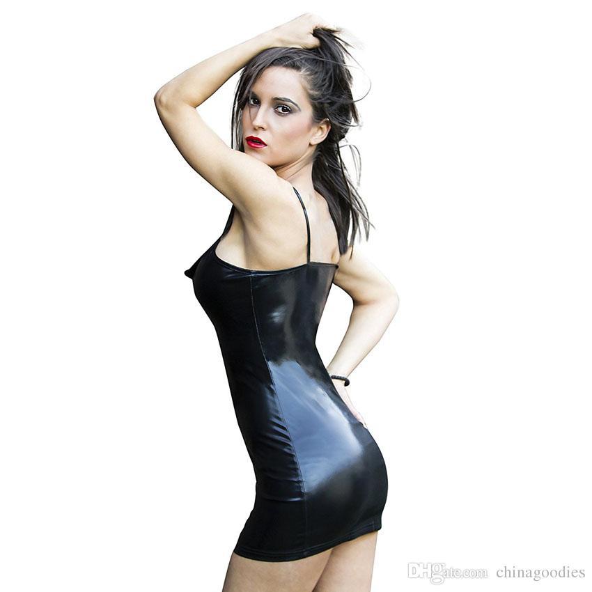 Mulheres Preto Faux Couro PVC Sexy Party Mini Vestido Zipped Wet Look Traje Clubwear