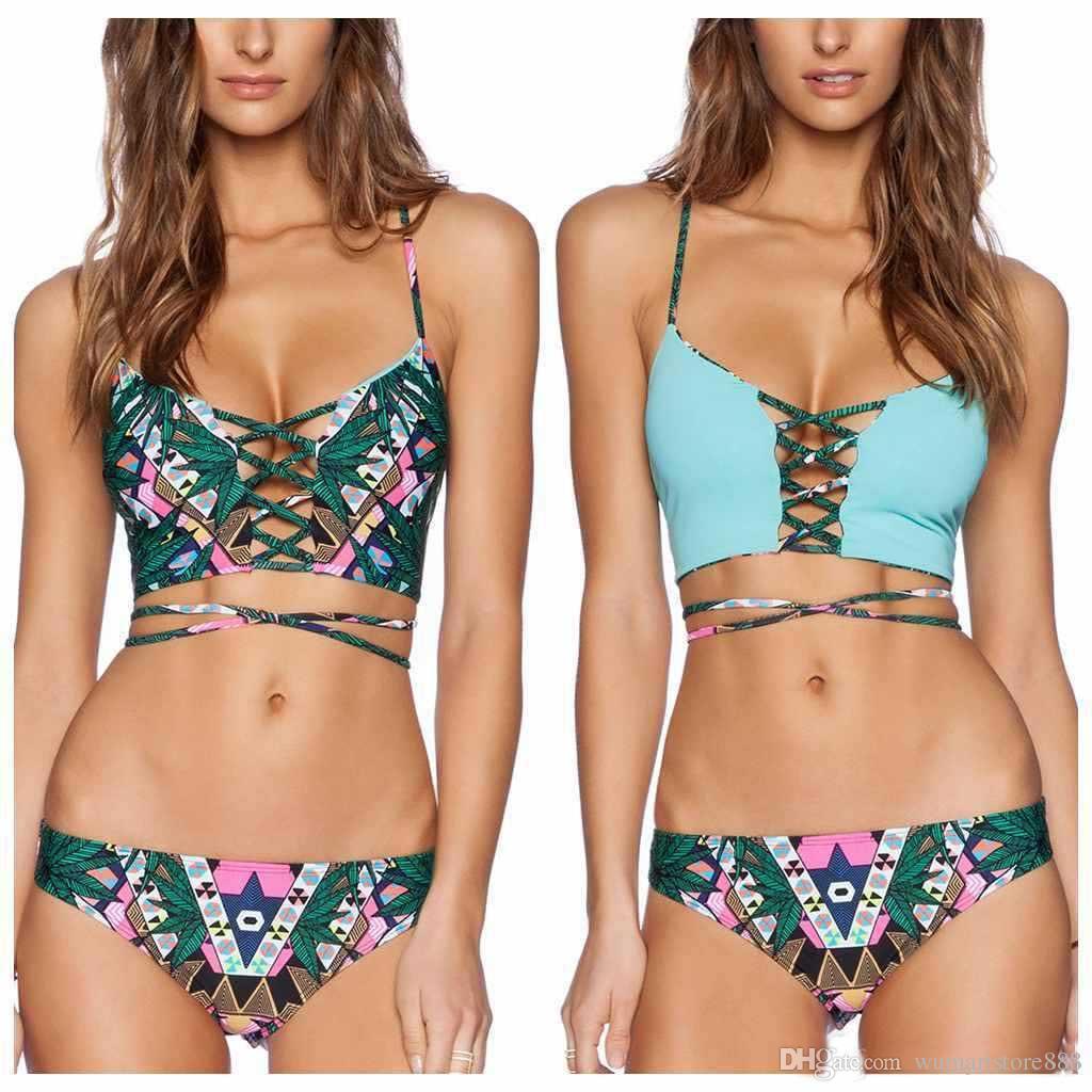 Yeni gelenler moda sıcak satış seksi Hint Totem Baskı BIKINI yaz plaj Bandaj Üçgen Mayo lady One Piece Mayo Yastıklı Bikini