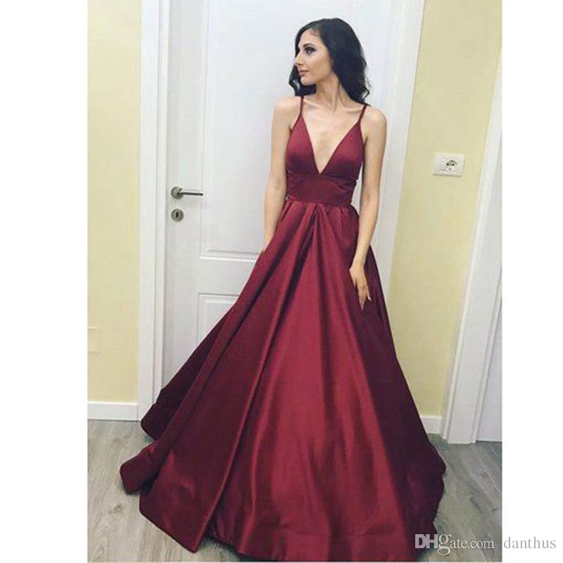 2018 Burgundy Girls Prom Dresses Long Satin A Line Evening Long