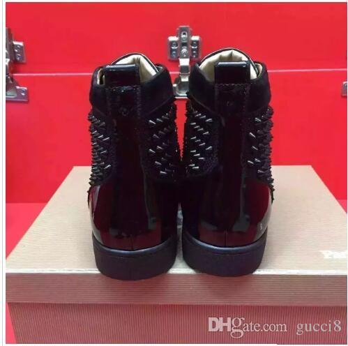 Марка Red Bottoms Женщины Мужчины Любители Модные кроссовки Шипы Натуральная кожа Круглый носок зашнуровать Унисекс Досуг Повседневная обувь Женская мужская обувь