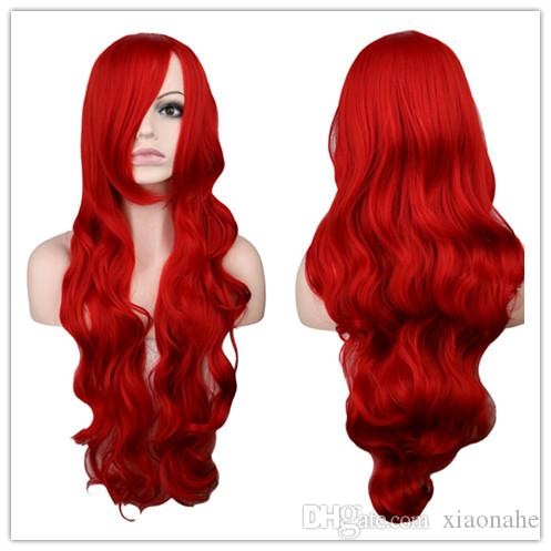 Long Wavy Cosplay Black Purple White Red Pink Blue Blonde Orange Sliver Gray 80 Cm Synthetic Hair Wigs