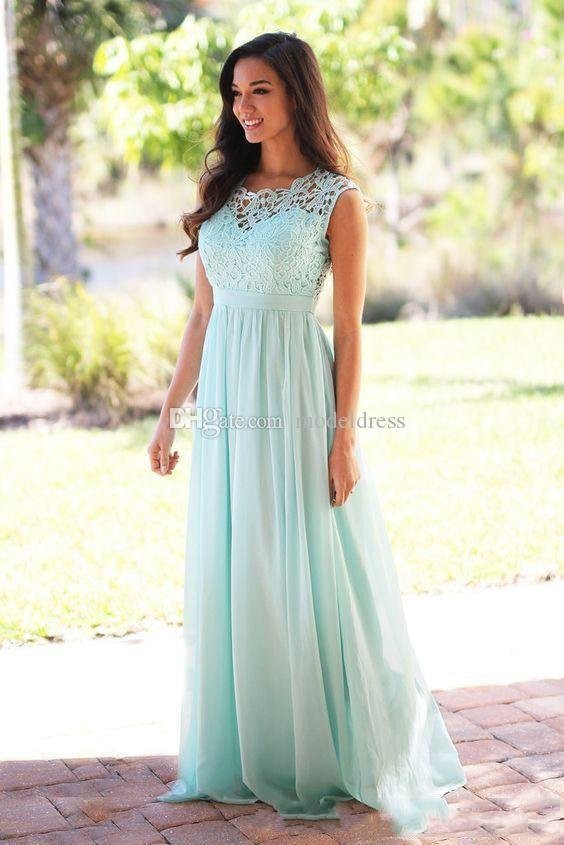 2017 New Blush Lace Beach Bridesmaid Dresses Jewel Sheer Back Long Chiffon Mint Maid of honor Wedding Guest Gowns Cheap Custom Made
