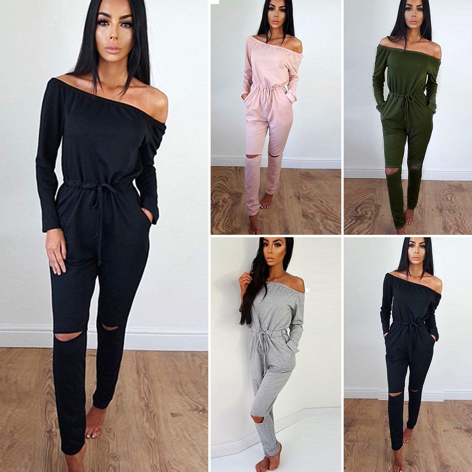 28f10977c1 2019 Women Off The Shoulder Playsuit Long Sleeve Ripped Knee Jumpsuit Long  Romper Overalls Tracksuit All In One From Erinzhang