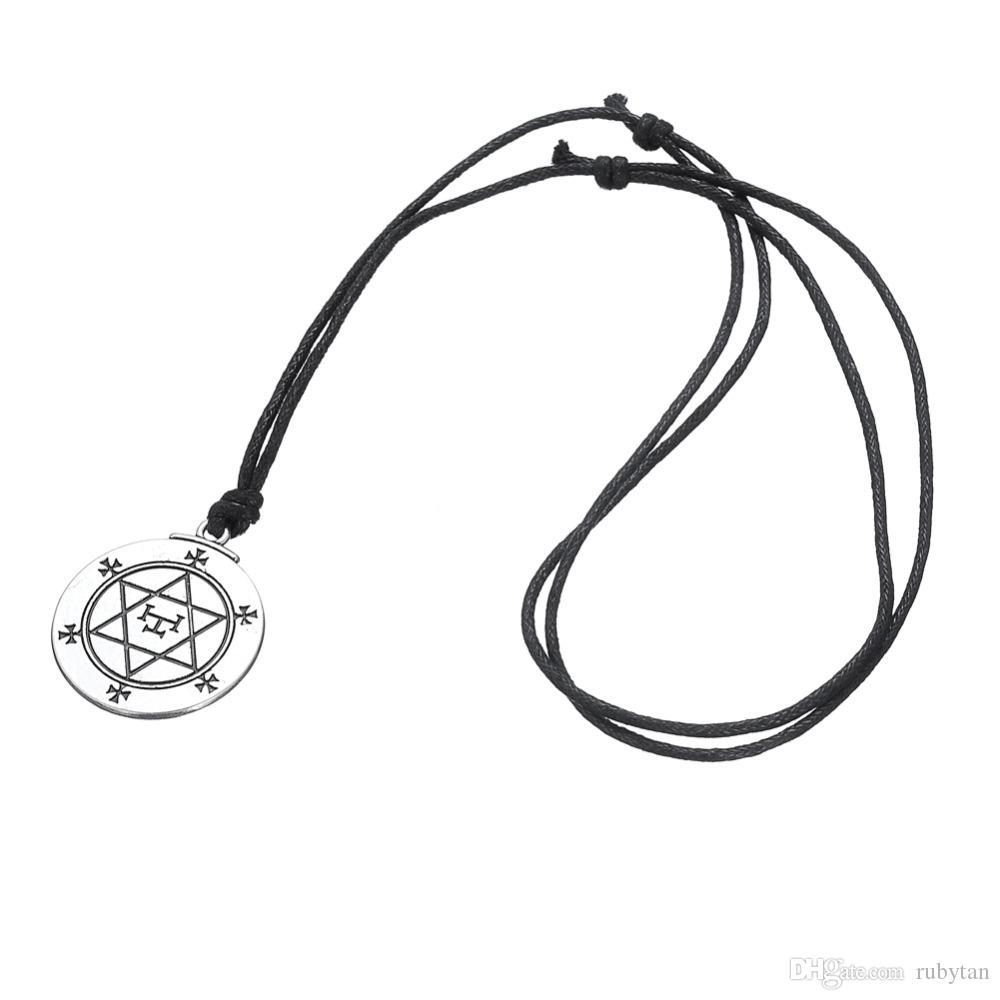 5 ADET Exagram Solomon Mühür Magical Talisman David Yıldız El Damgalı Kolye Ayarlanabilir Rune Adam için Dini Kolyeler