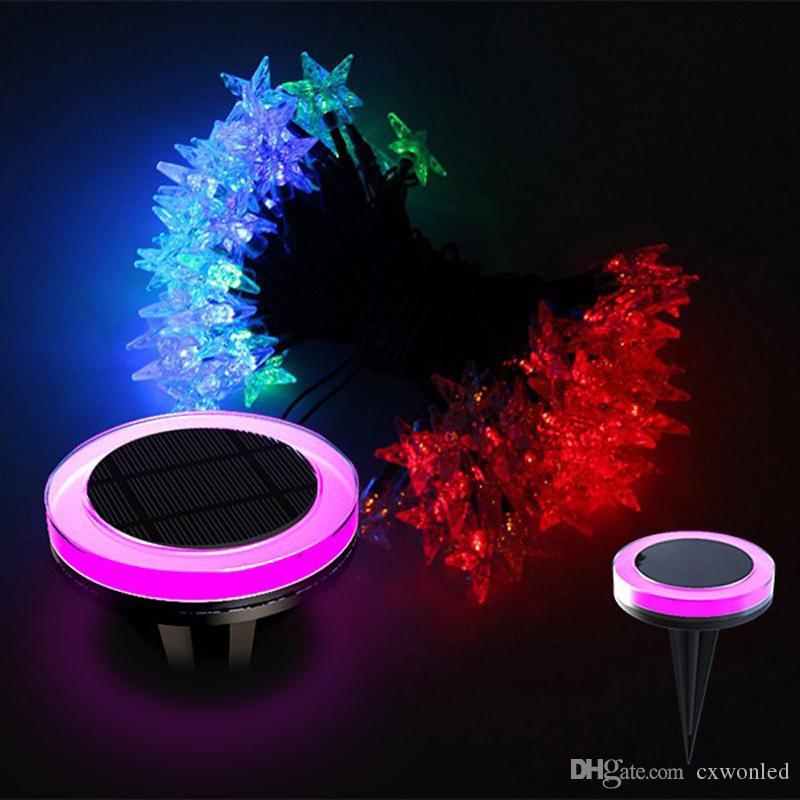 corda solar gramado luzes LED Outdoor de Natal corda leve 10M 100LED RGB festivo decorativo lanterna lâmpada do gramado ao ar livre à prova de água