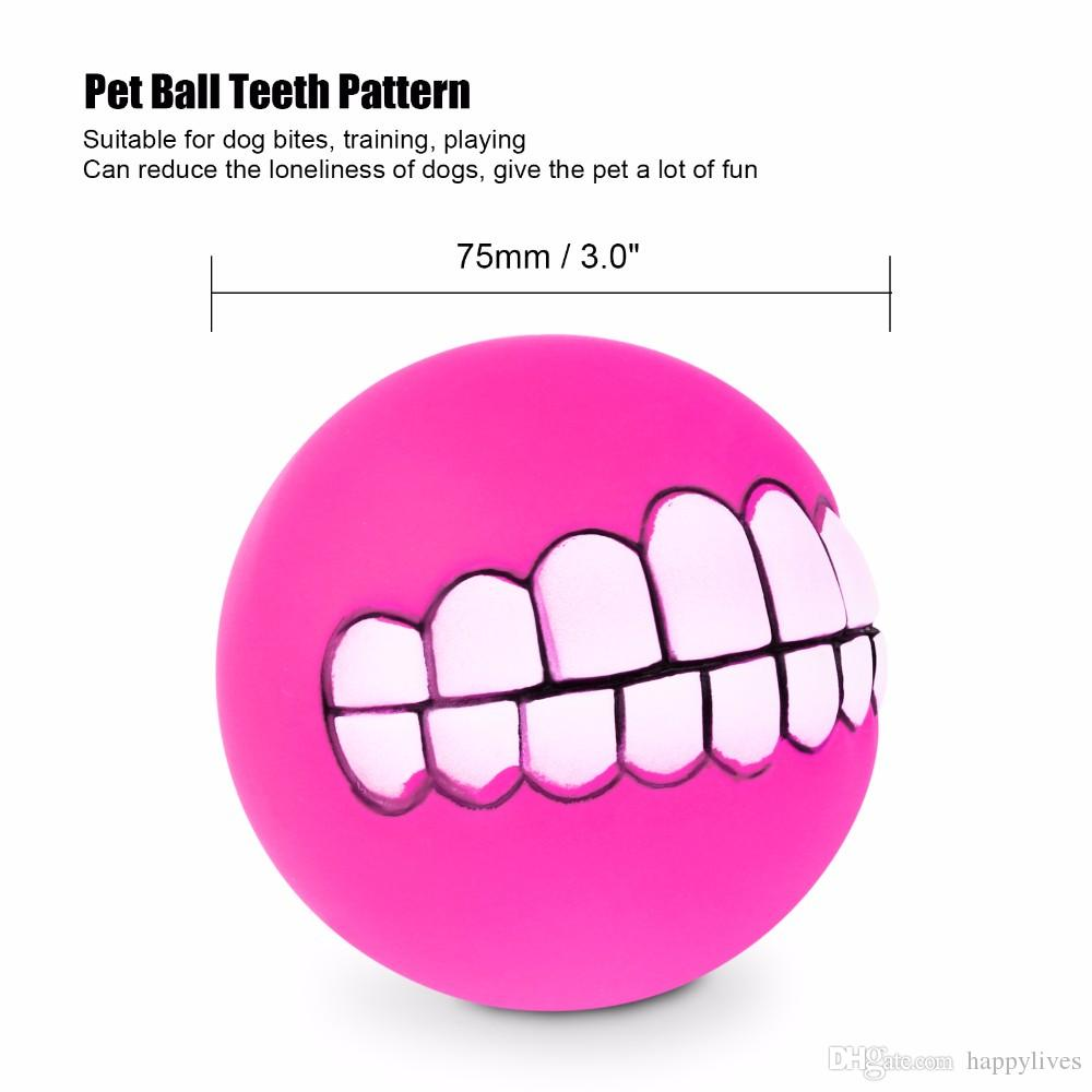 Pet Puppy Dog Funny Ball Teeth Silicon Chew Sound Dogs Play New Funny Pets Dog Puppy Ball Teeth Silicon Toy
