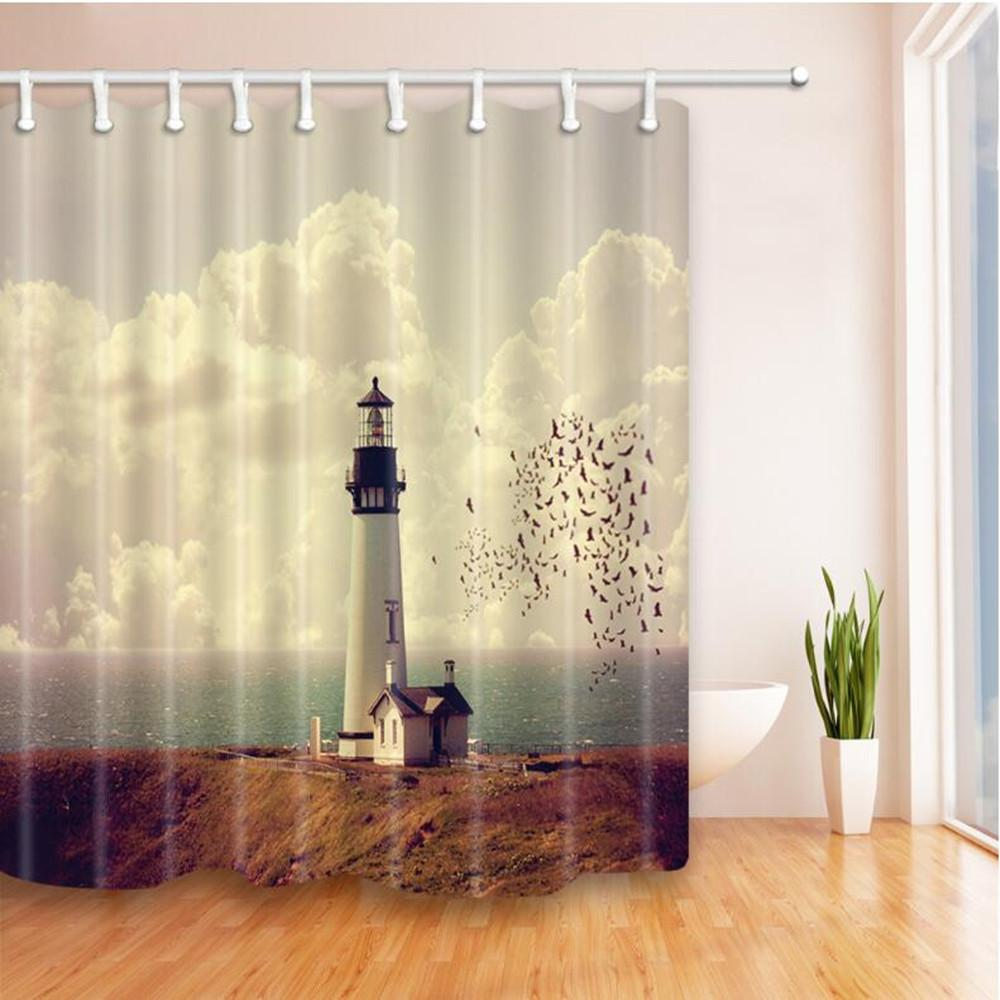 2019 Hot Selling Lighthouse Shower Curtains Liner 180180cm Home Decoration Waterproof Polyester Fabric Room Hanging Curtain High Quality From Party8