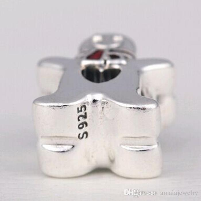 2016 Winter Bead 925 Sterling Silver Sweet Gingerbread Man Charm Fits European Pandora Jewelry Bracelet Necklace & Pendant Christmas Gifts