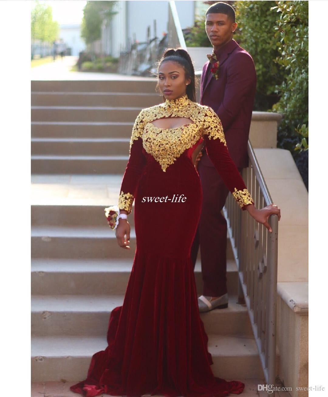 Burgundy Long Sleeve Prom Dresses High Neck With Gold Lace