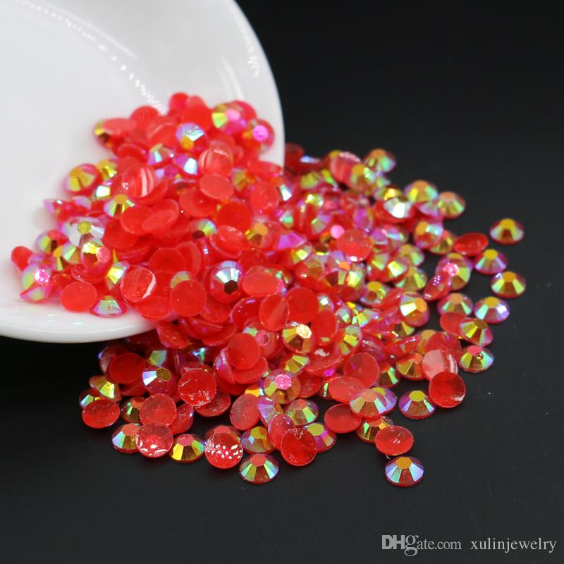DIY Nail Art Acrylic Resin Rhinestone Jelly Siam AB Resin Flatback Rhinestone All Size 3mm,4mm,5mm,6mm