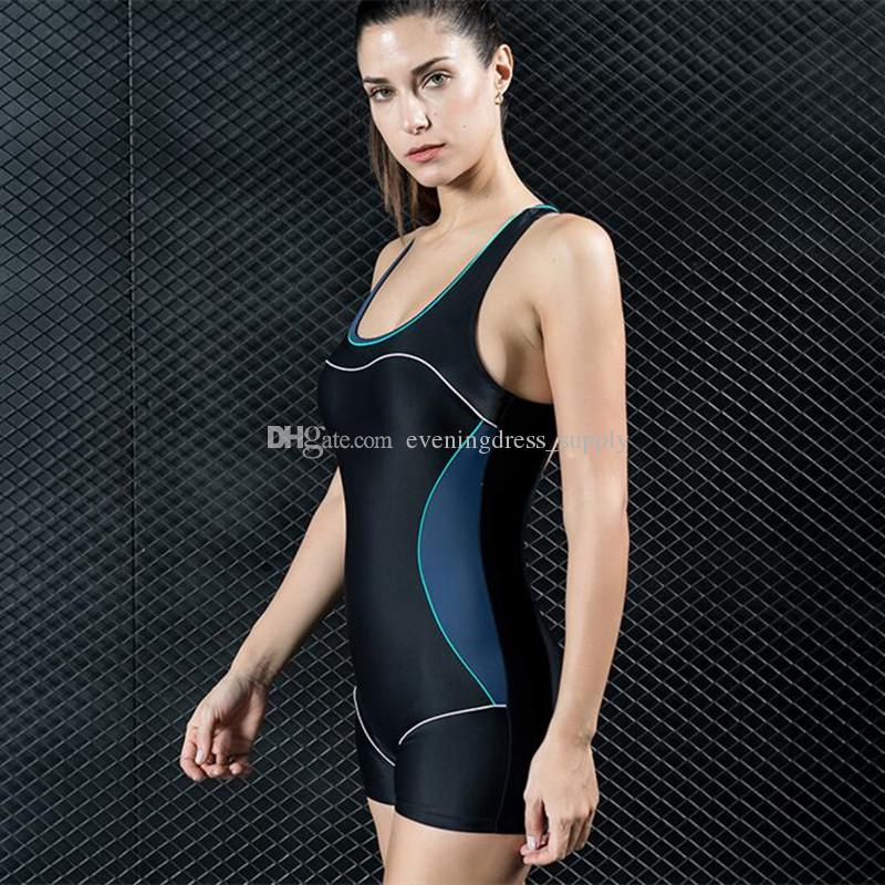 Hot boxer one-piece swimsuit sport women sexy swimsuit high waisted swimwear hot spring bathing suit supply