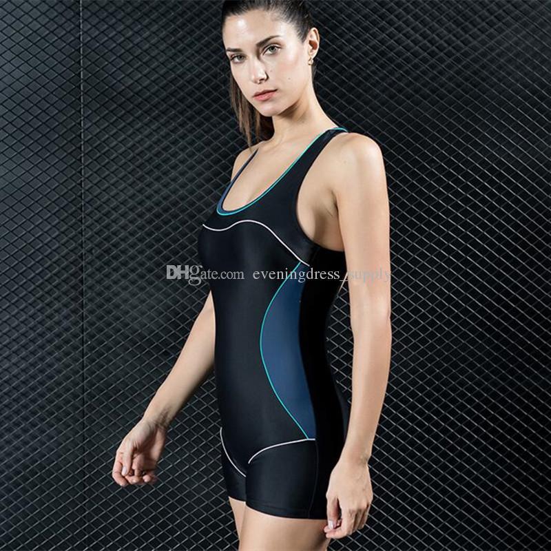 Traje de baño de una sola pieza del boxeador caliente del deporte de las mujeres traje de baño atractivo traje de baño de cintura alta traje de baño de aguas termales