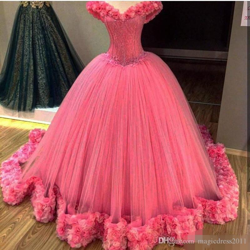 Lindo hot pink quinceanera vestidos feitos à mão flores princesa bola vestido de baile doce 16 vestido pageant vestido de baile de máscaras barato para venda