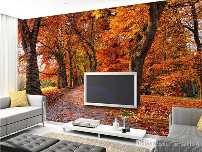 Hojas de otoño de lujo Wallpaper Photo Wall Mural para la sala de estar Sofá TV de fondo Papeles de pared Home Decor Vinilo adhesivo 3d Rollo