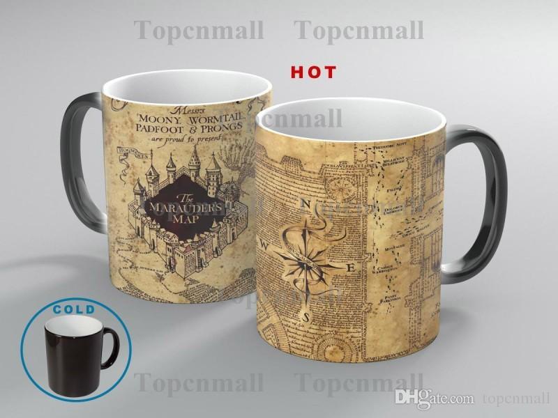 Harry Potter Marauder Map Color taza cambiante taza Magia sensible al calor Taza de café Taza de té regalo Envío gratis