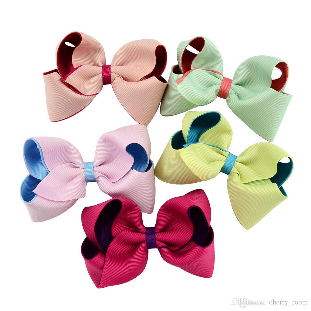 capelli accessori capelli Newborn girl pin Bow forcine ragazze boutique bambini principessa barrettes doppio colore grandi fiocchi bambino capelli clip di C1585