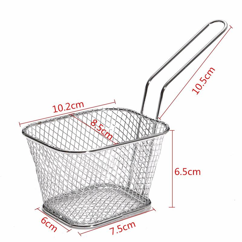 4Pcs/lot Chips Mini Fry Baskets Stainless Steel Fryer Basket Strainer Serving Food Presentation Cooking Tool French Fries Basket